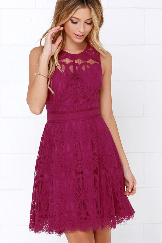 37be5f9371e050 On the Up and Up Magenta Lace Dress at Lulus.com!