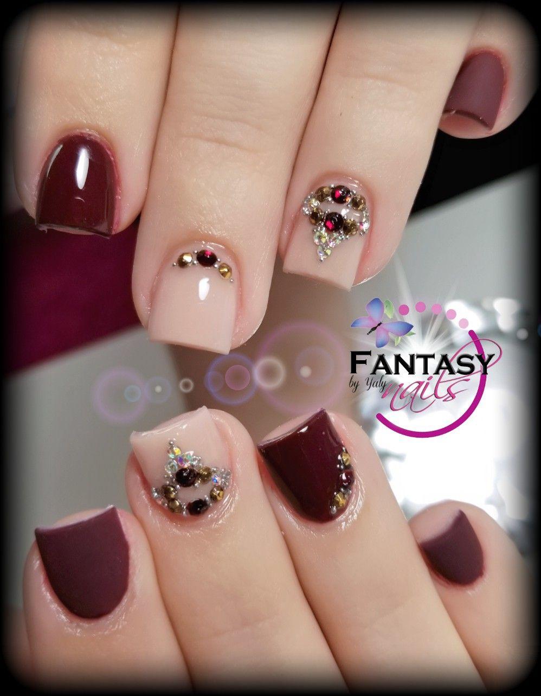 Wine nails fantasy nails en 2019 u as gelish manicura - Color de unas de moda ...