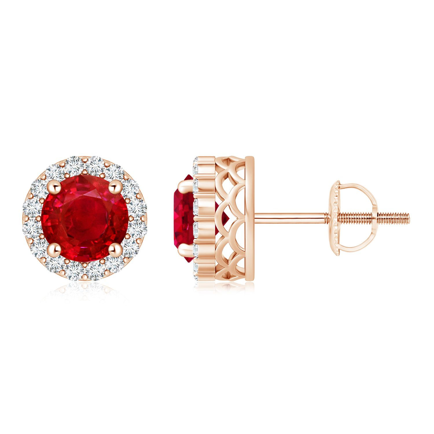 Angara Pear Shaped Ruby and Diamond Halo Stud Earrings in Rose Gold