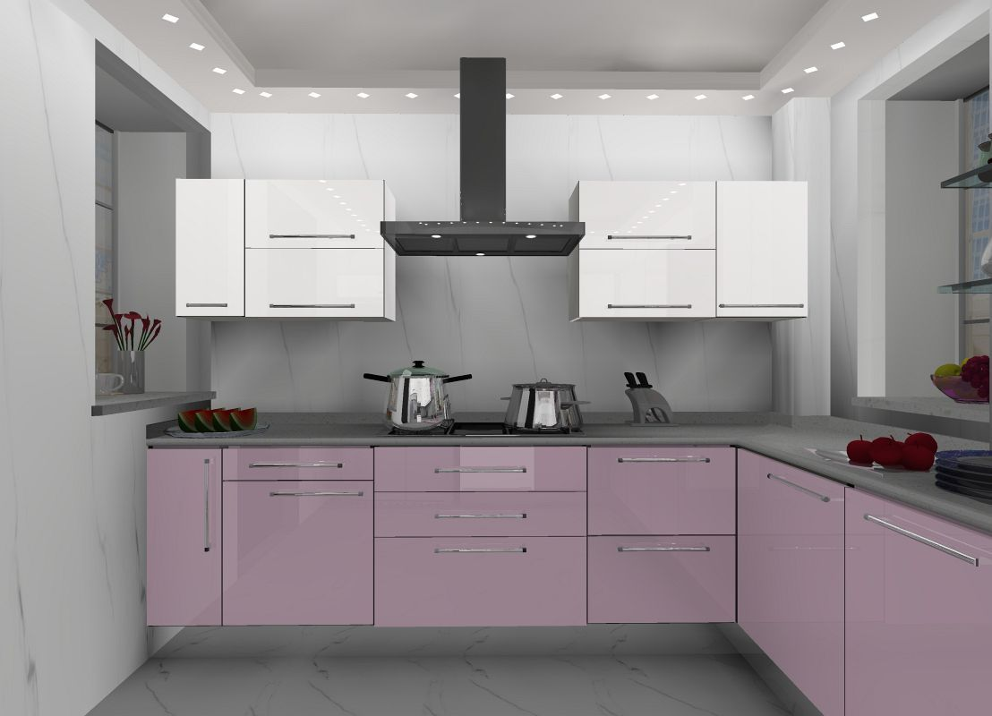 U Shaped Small Size Modular Kitchen Design With Industrial Kitchen Island For Sale With Grey Kitchen