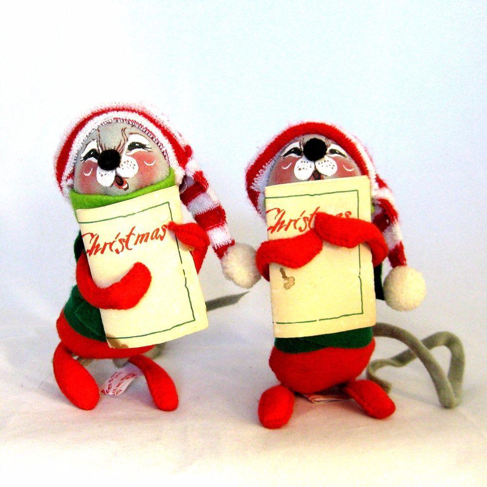 Vintage Christmas Decorations Mouse Carolers Set Jasco: Vintage Annalee Mobilitee Doll 2 Mice Carolers 1971