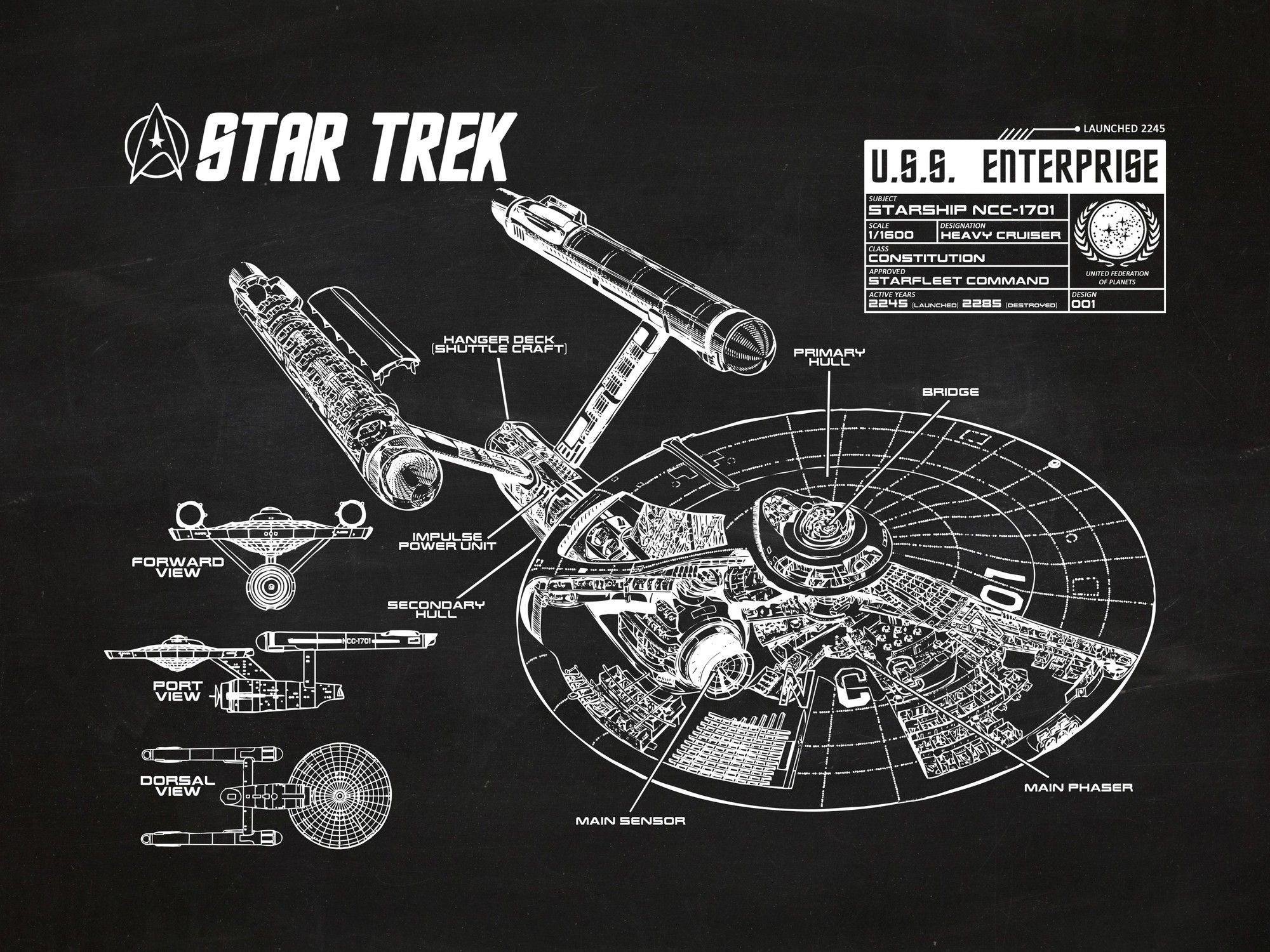Star trek blueprint graphic art poster in chalkboardwhite ink star trek blueprint graphic art poster in chalkboardwhite ink malvernweather Images