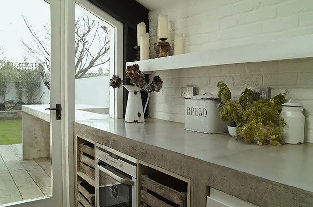 Eclectic Kitchen Concrete Cabinets And Counter With Crates As - Concrete cabinets