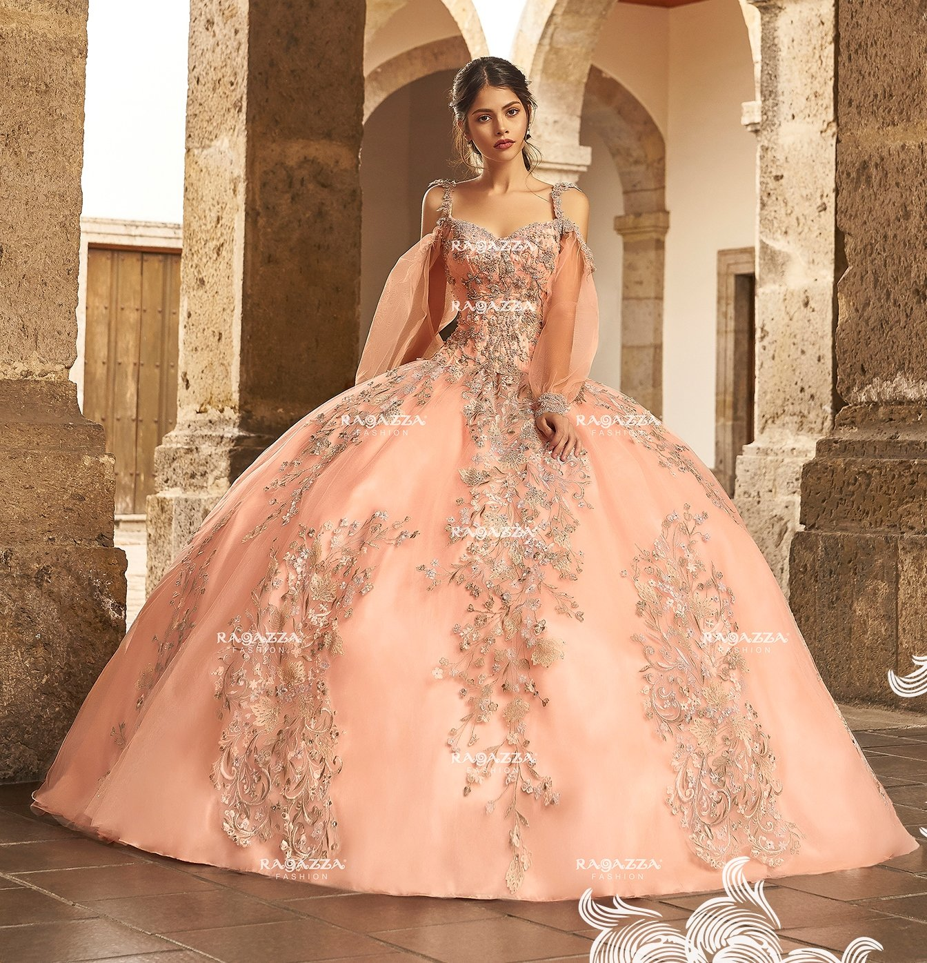 6f96dcbc6 Beaded Cold Shoulder Quinceanera Dress by Ragazza Fashion V95-395 in ...