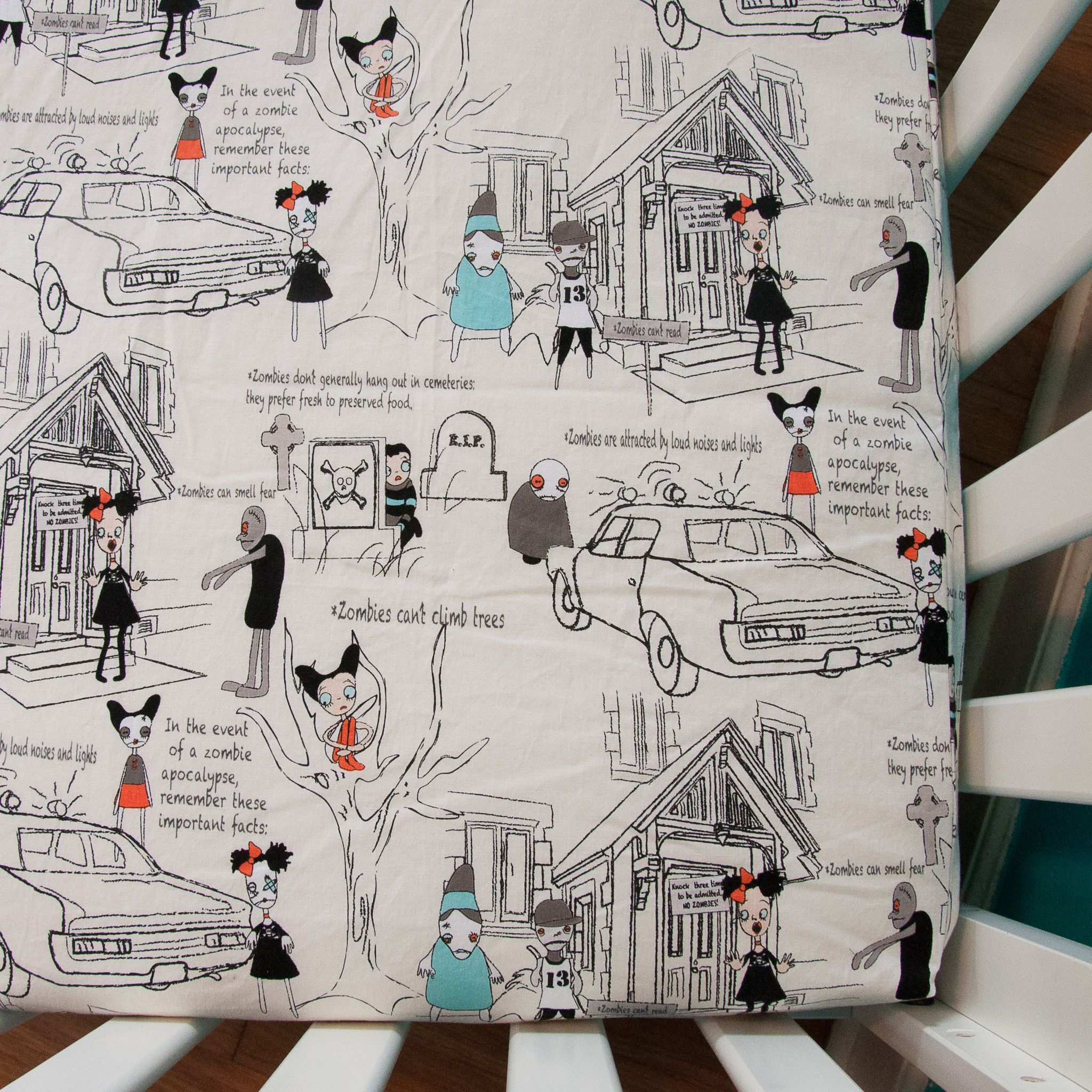 Ivory Zombies Fitted Crib Sheet