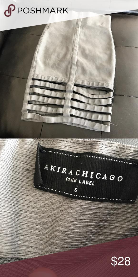 53146f0c46 Gray skirt Gray Akira Bandage Skirt With Cage Like Detailing at Bottom  AKIRA Skirts Midi