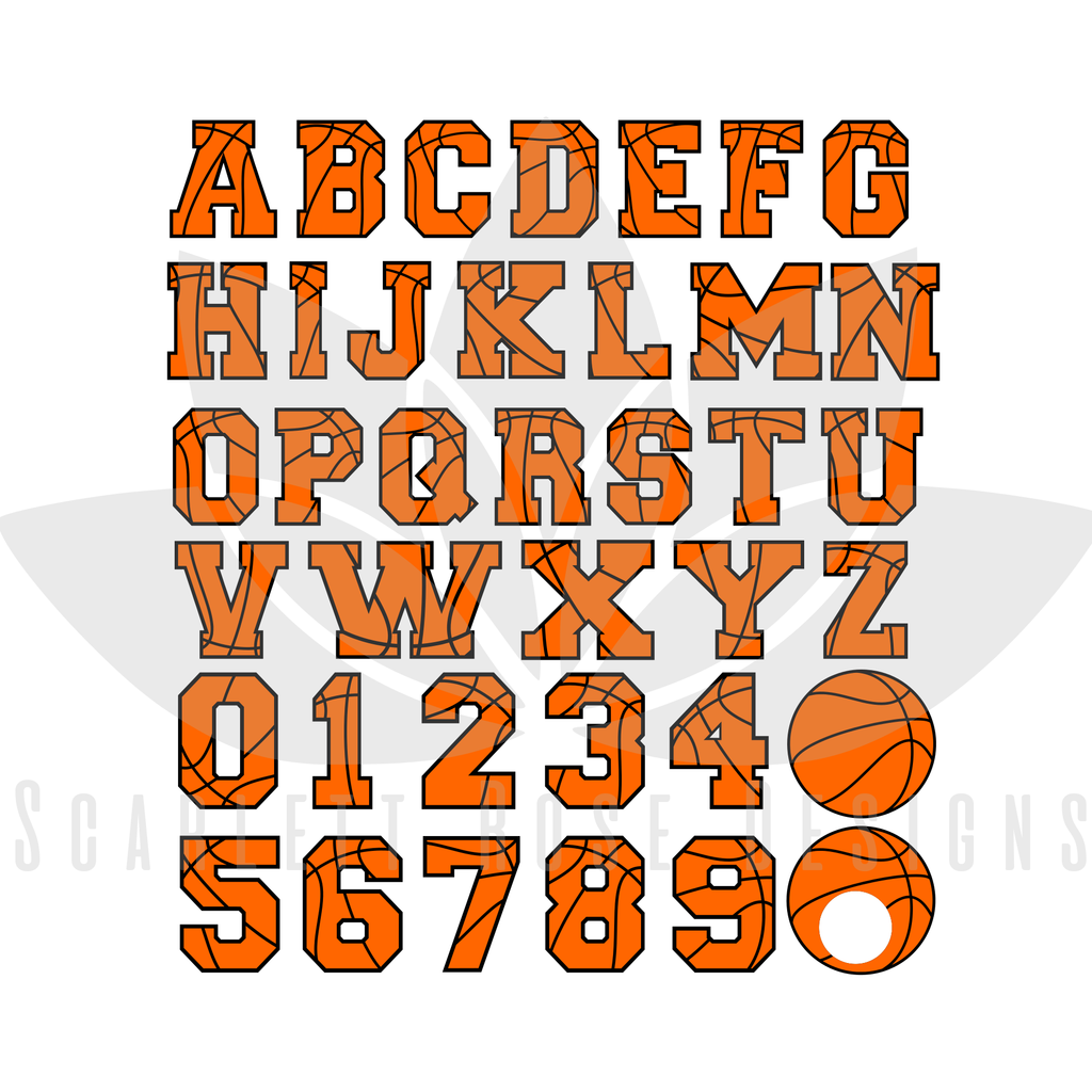 Basketball Font, Letters, Numbers, Monogram SVG cut file, Sports