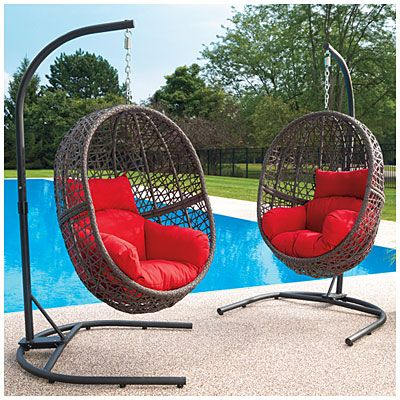 Wilson U0026 Fisher® Resin Wicker Cushioned Hanging Egg Chairs Part 79