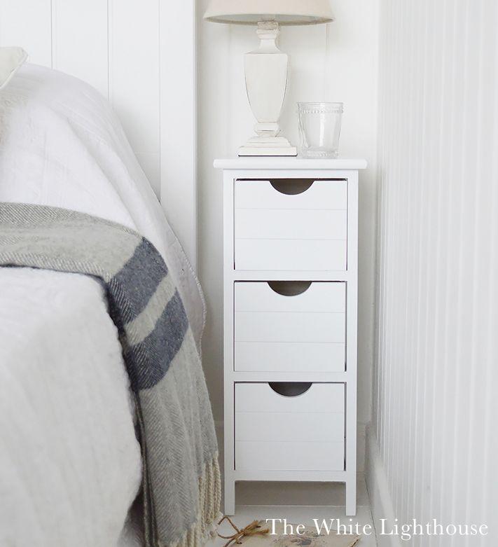 Dorset Narrow Bedside Table 25cm Max In White Nattduksbord