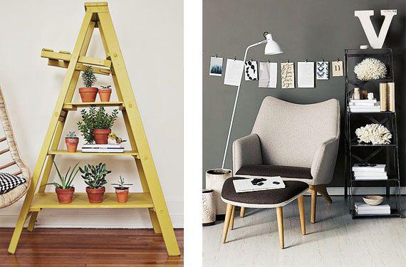 Escaleras de mano como elemento decorativo escalera de mano decora tu hogar y escalera - Escaleras de madera decorativas ...