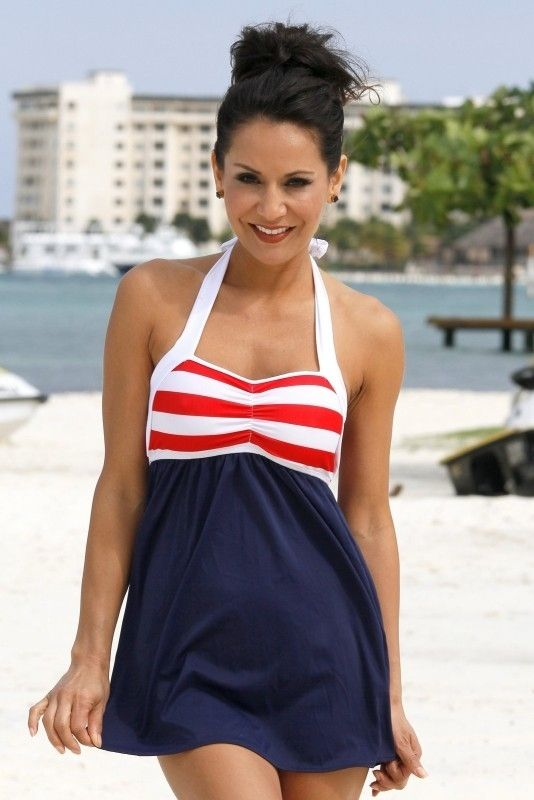 2129c8a17f Show off the RED, WHITE & BLUE! Ujena Sailor Girl Swim Dress Swimwear