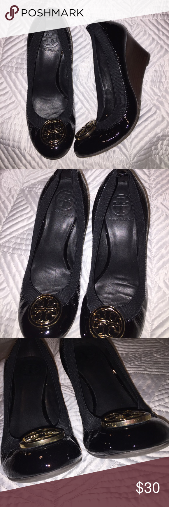 d77a9ed8a2ca Tory burch wedges 2.5 inch heel. Glossy black with black and gold 3D logo.  In good condition size 7.5 US I will ship in 1-2 days. Thank you Tory Burch  Shoes ...