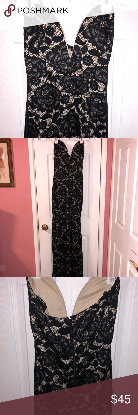 Long black stretchy prom dress beige lace dresses long black and prom