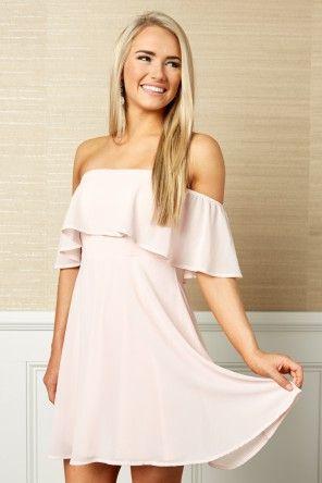 Under The Moonlight Blush Pink Off The Shoulder Dress At Reddressboutique Com Blush Dresses Short Blush Dress Casual Short Pink Dress Casual