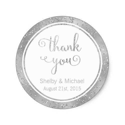 Silver thank you custom text personalized sticker