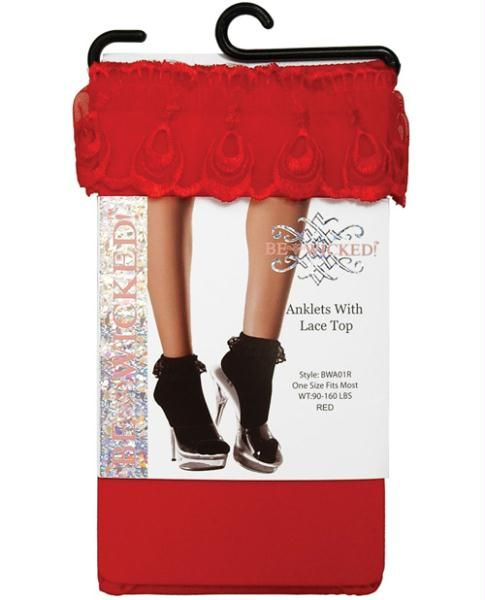 Ankle socks w/lace top red o/s