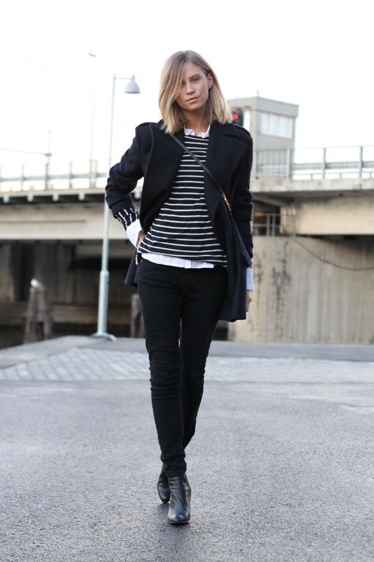 Women 39 S Black Coat Black And White Horizontal Striped