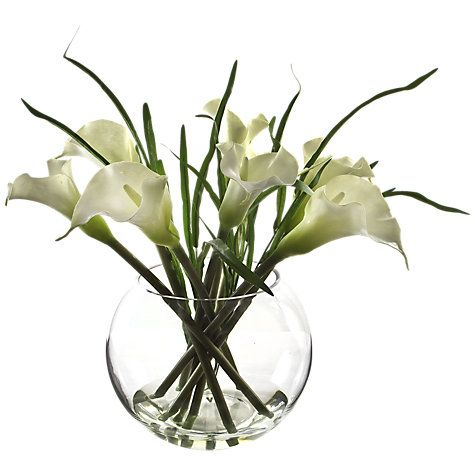 Peony Arum Lilies And Bear Grass In Glass Bowl White Beauty