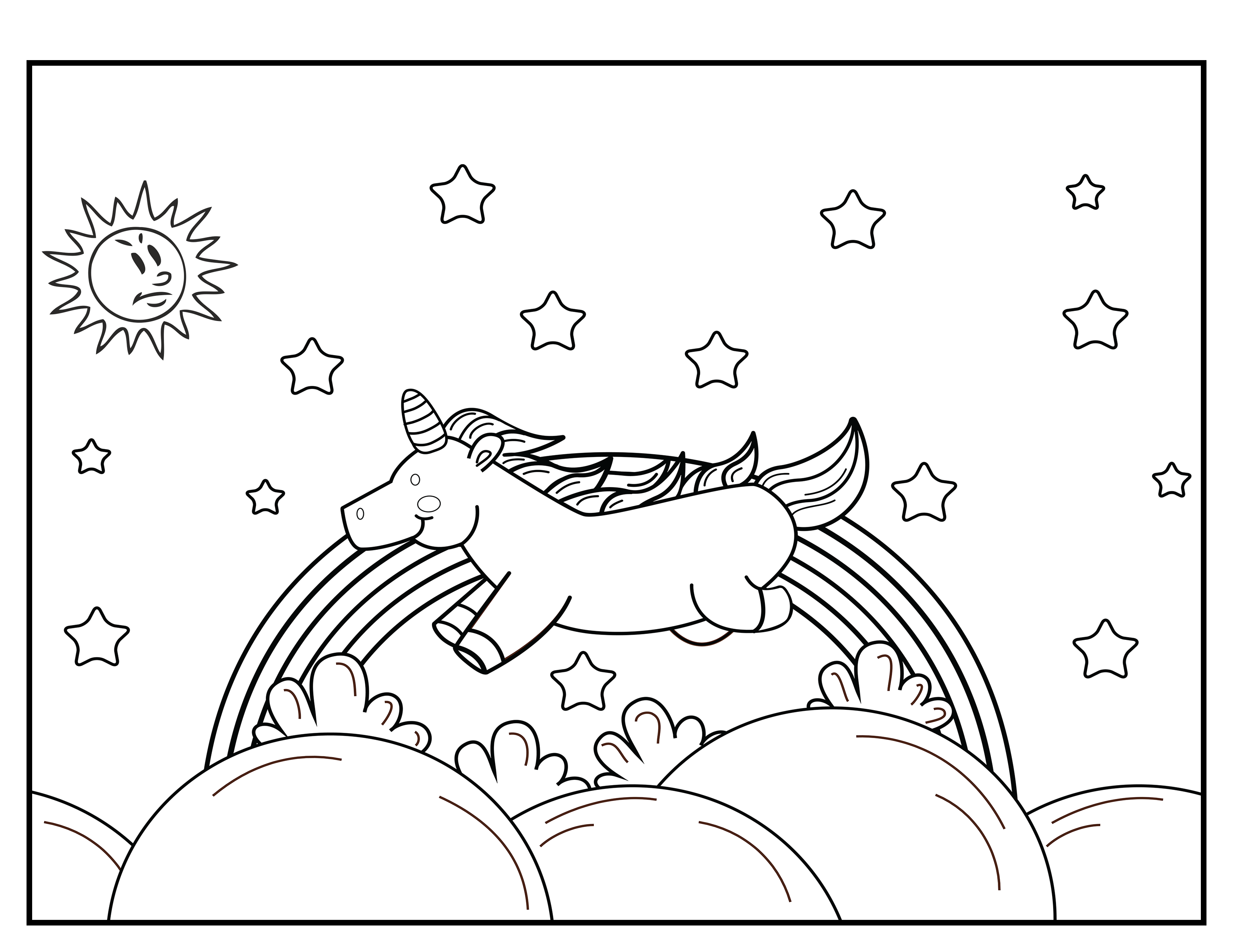 Carefree Unicorn Running Through The Clouds Coloring Book
