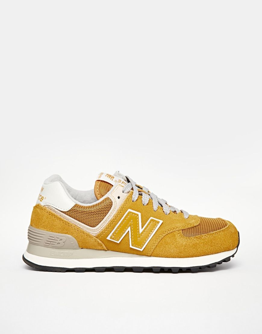 622d372a8be4 New Balance 574 Yellow Mustard Suede Mesh Trainers