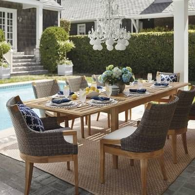 Clean-lined and contemporary, this dining collection adds an undeniable    sophistication to outdoor gatherings. It coalesces visually stimulating    materials: curving handwoven resin wicker, smooth-sanded plantation teak    and inviting cushions. If left untreated, the kiln-dried teak table and    chairs will age to a silver patina.Part of the Roseau Collection.                Plantation-grown, sustainably-harvested teak is kiln-dried to            eliminate expansion and shrinkage and ...