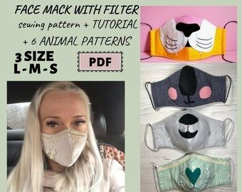 Face mask sewing pattern  PDF tutorial DIY multilayer mask | Etsy