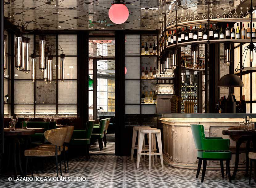 Paris by lazaro rosa violan studio like the hanging metal shelf over bar possible color for - Bar cuisine studio ...