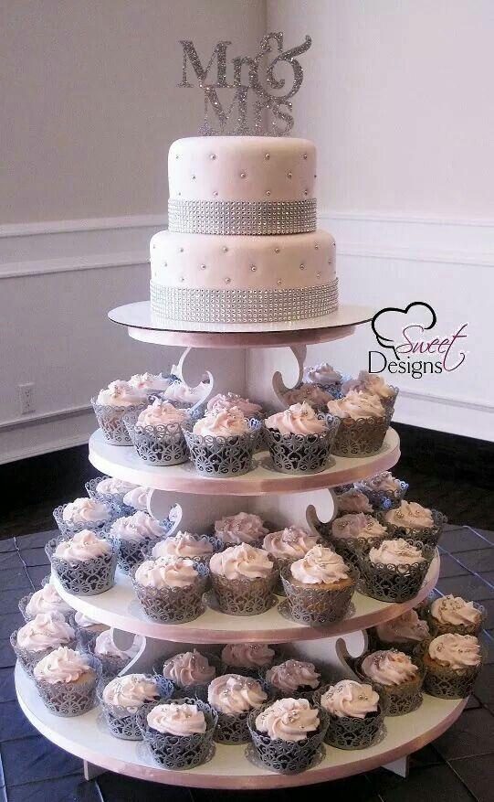 Wed Cake With Cupcakes Cool Wedding Cakes Pink Wedding Cake