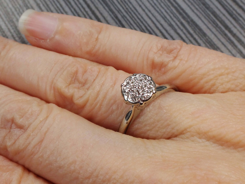Vintage Diamond Engagement Ring Vintage Diamond Cluster Ring Etsy Diamond Engagement Rings Vintage Diamond Engagement Rings White Gold Engagement Rings