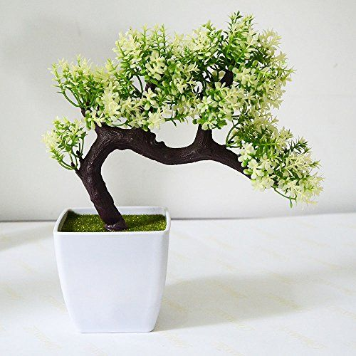 Artificial Plant Pine Bonsai Nearly Natural Tree For Home Office  Decoration(white Green)