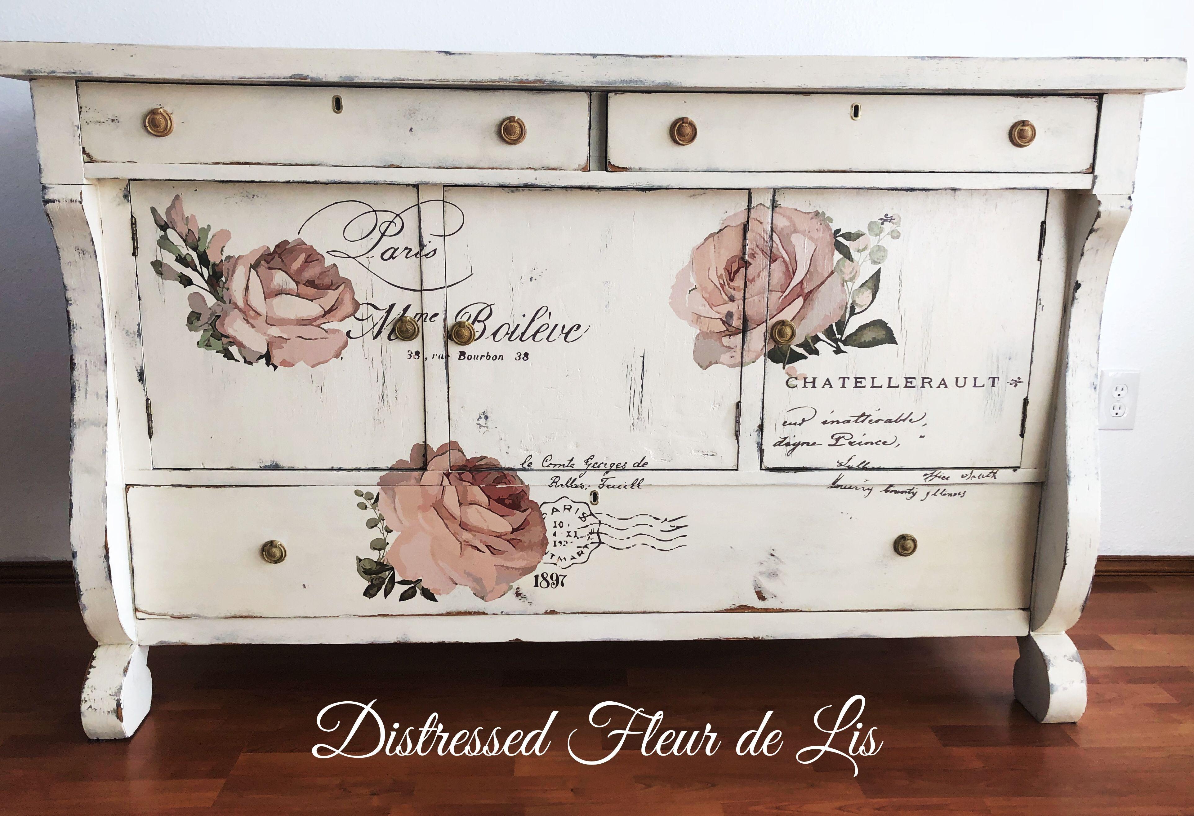 Antique Dresser Painted White With Prima Transfer Antique Dresser Distressed Furniture Fleur De Lis