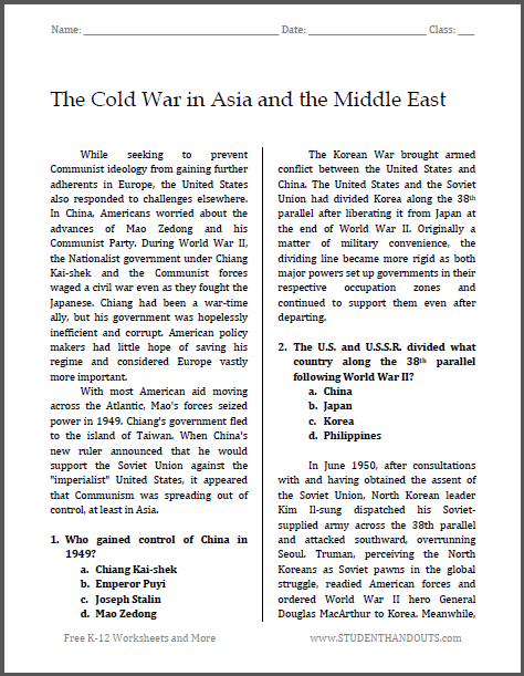 the cold war in asia and the middle east free printable reading with questions pdf file for. Black Bedroom Furniture Sets. Home Design Ideas