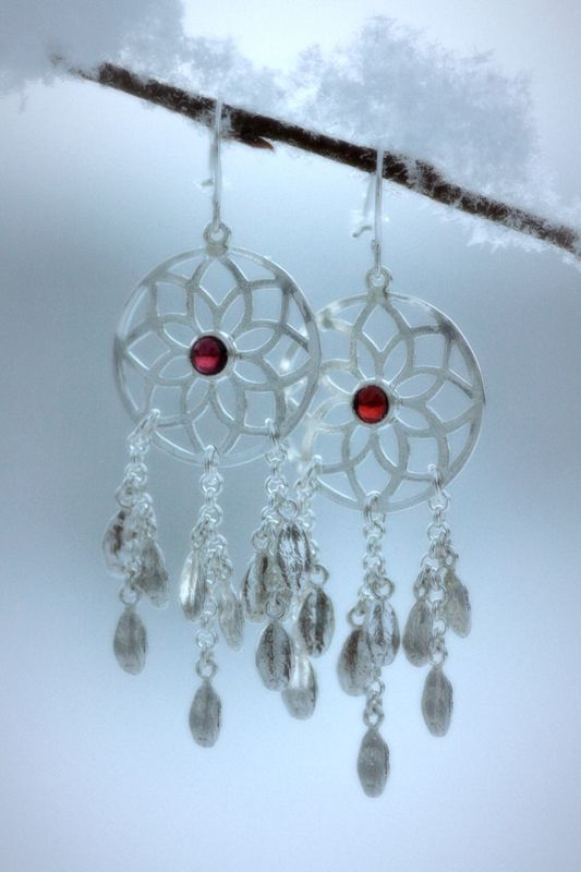 Earrings | Paarma Design  Frost Berry   Frozen lingonberry (foxberry) leaves and garnet, which is the stone of January