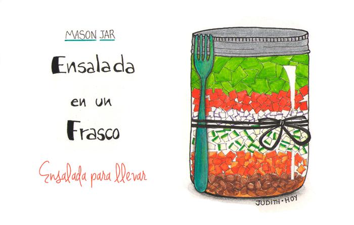 Ensalada multicolor en un frasco | Food Blogging Recetas Cocina Creativa Ilustración de comida Food Illustration