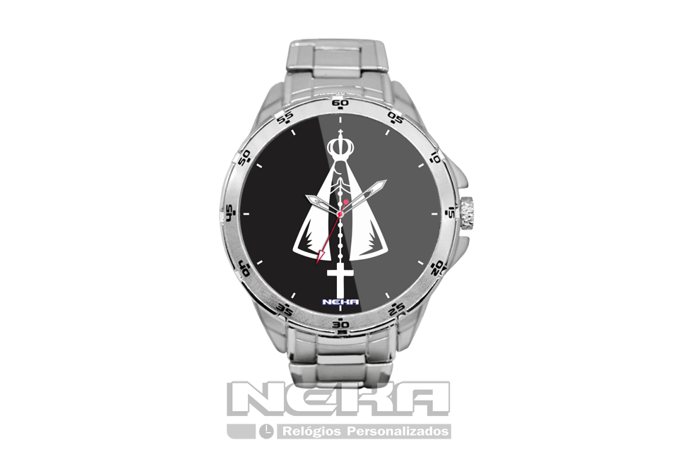 e411ca2b4ad relógio personalizado com imagem de nossa senhora em fundo preto relógio de  pulso em aço.