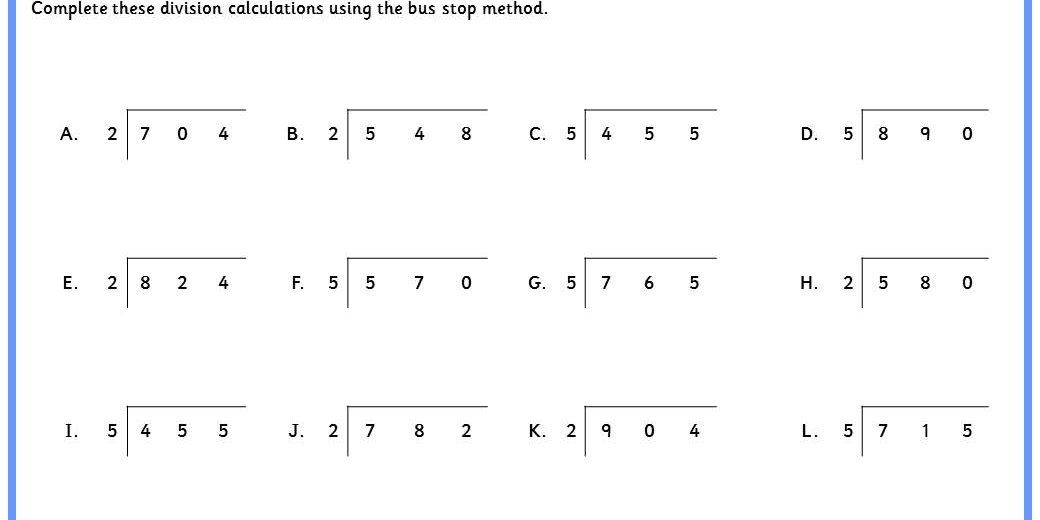 Six Differentiated Worksheets For Bus Stop Method Division From