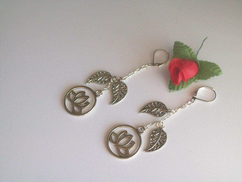 Lotus Flower Earrings Buddhism Hinduism Asian Jewelry Koi Pond