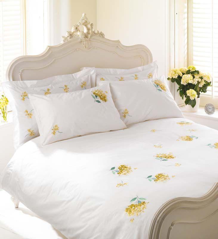 White Yellow Hydrangea Bedding Yellow Cottage Yellow Bedding White Sheets