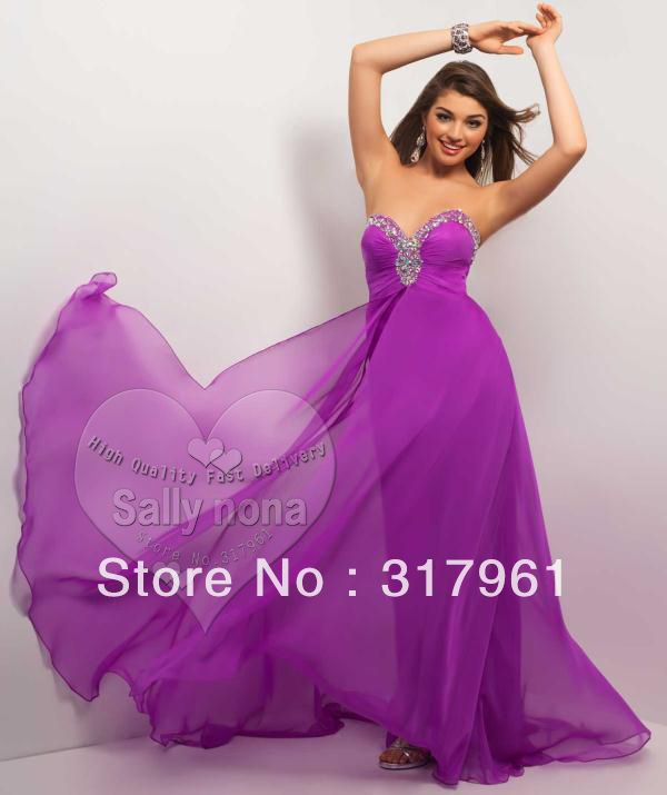 Peach Royal Purple Blue White Lemon Chiffon Bridesmaid Dresses ...