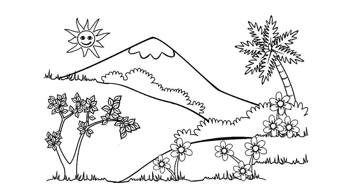 32 Pemandangan Alam Untuk Diwarnai Kumpulan Sketsa Mewarnai Gambar Pemandangan Alam Siap Download Step By Step Menggambar Pemanda Pemandangan Warna Sketsa