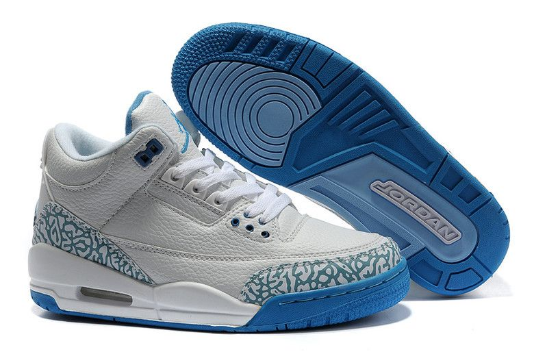 Authentic Nike Shoes For Sale Women Jordans 3 Cement White Blue [Women Air  Jordans -