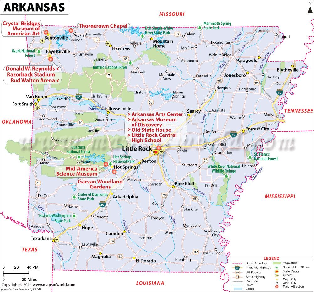 Arkansas Map For Free Download And Use The Map Of Arkansas Known - Us map with points of interest