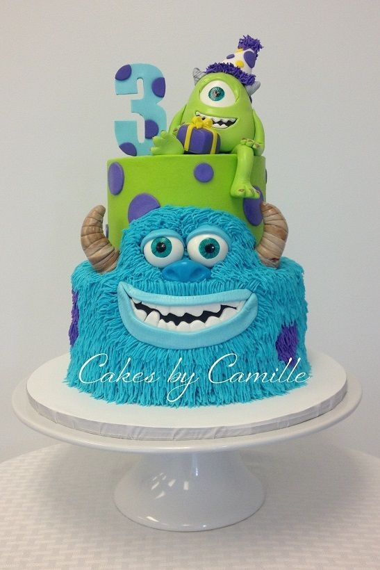 Monsters Inc University Cake Sulley Is Piped Buttercream With