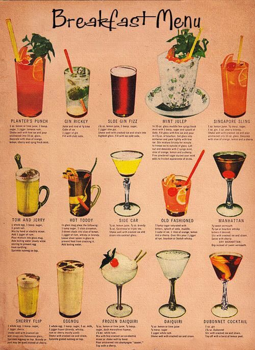 Breakfast Drinks Cocktail Menu Vintage Cocktails Cocktail Drinks