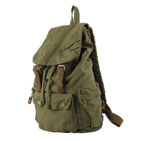 fe490455a S.C.Cotton Rucksack Vintage Canvas Schulpack Damen Herren Daypack für  Bergsteigen Sport Reisen Armee Grün 30 x 15 x 48 cm