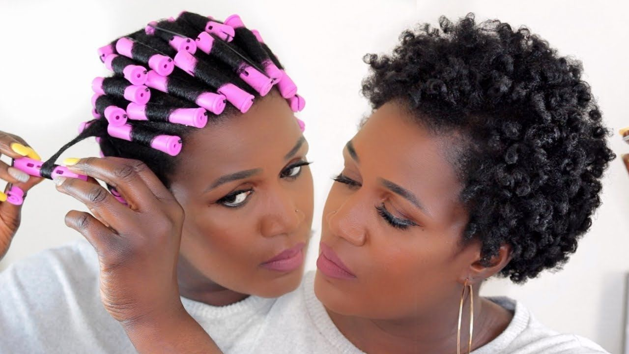 How to curl short natural 4c hair without heat perm rod set
