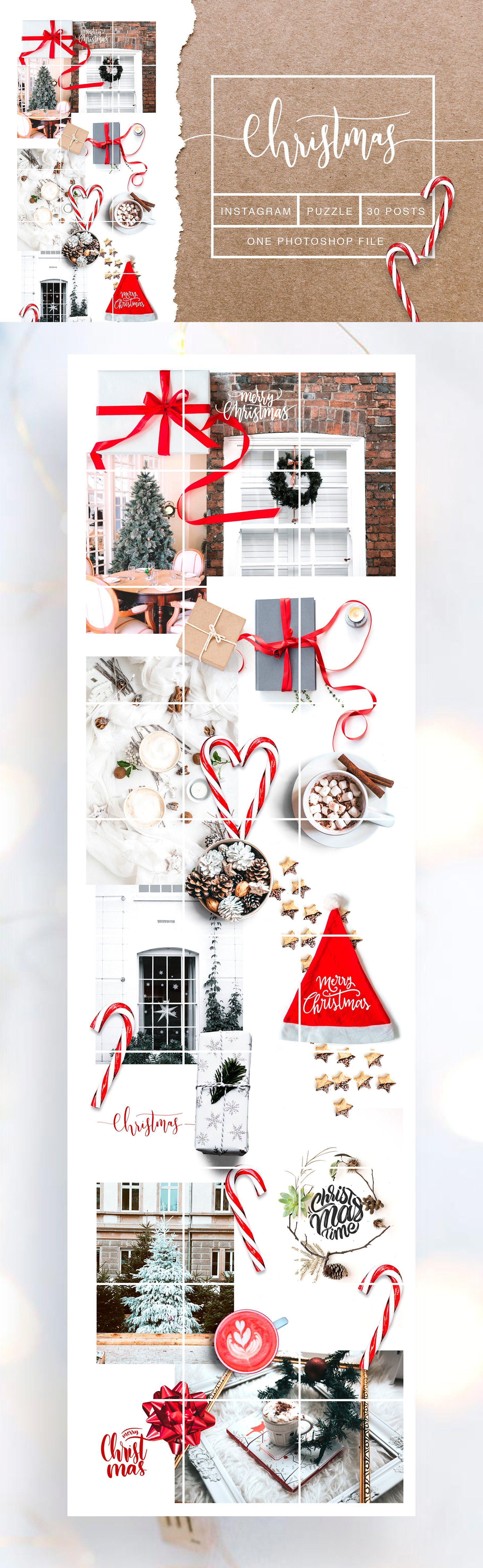 Christmas Insta Puzzle Psd Canva Instagram Diy Website Instagram Template