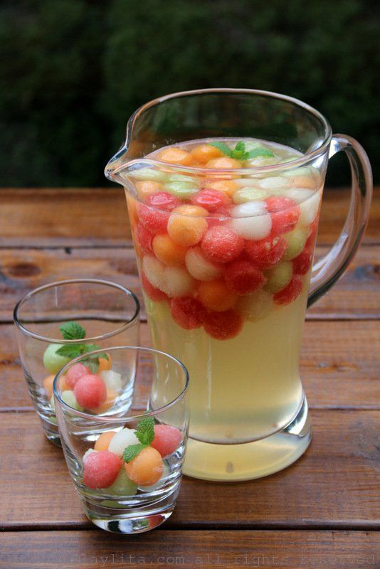 White sangria with melon and moscato wine