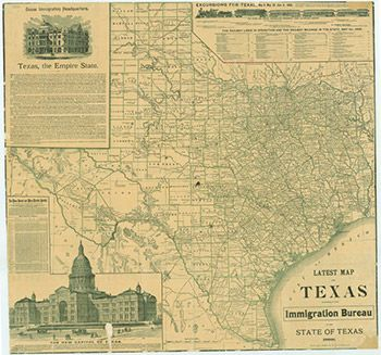 Latest Map of the State of Texas by the Immigration Bureau of the     Latest Map of the State of Texas by the Immigration Bureau of the State of  Texas
