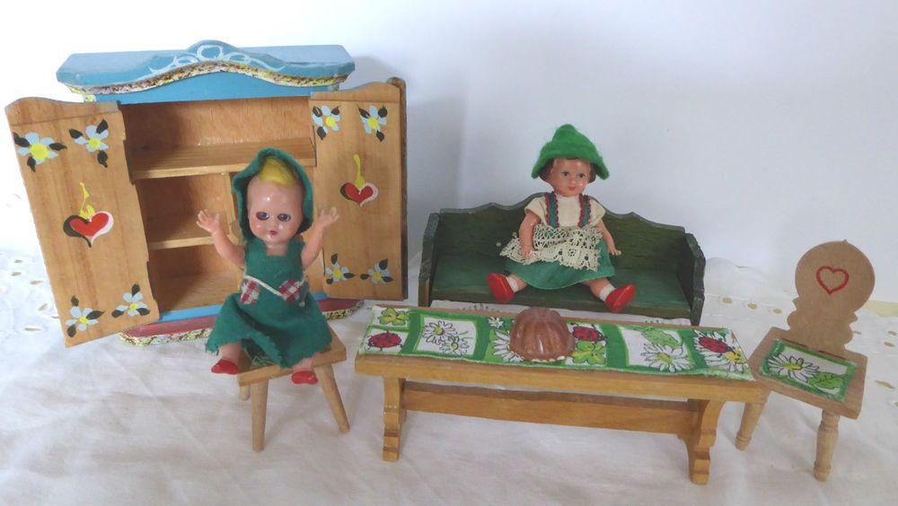 Puppenstube Bauernmöbel Bauernstube Puppe bemalt Schrank Truhe Holz Herz Ari  | eBay